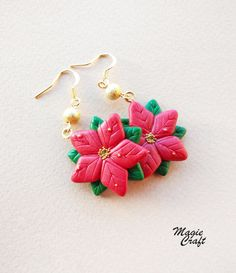 Poinsettia earrings in polymer clay Polymer clay by MagieCraft