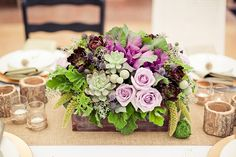 purple low wedding centerpiece ~  we ❤ this! moncheribridals.com