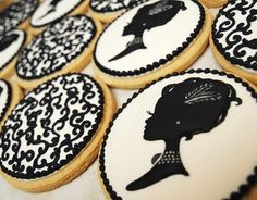black white royal icing, cameo silhouette @Lexie Bertrams. I just got this machine and I bet you could also do this with a cake!