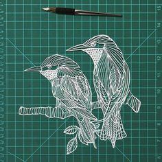 "Two birds on a branch papercut art decor - 10""x8"" original paper-cutting paper art cutouts of a couples birds"