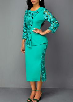 Button Front Lace Panel Zipper Back Sheath Dress African Wear Dresses, Latest African Fashion Dresses, African Attire, Women's Fashion Dresses, Casual Dresses, Club Dresses, Cute Skirt Outfits, Dress Outfits, Office Dresses For Women