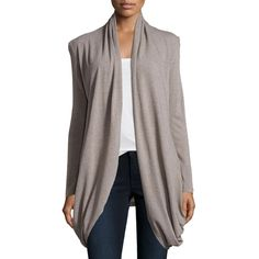 Neiman Marcus Asymmetric-Hem Open-Front Cardigan ($32) ❤ liked on Polyvore featuring tops, cardigans, dk grey, long sleeve tops, long sleeve open cardigan, grey shawl collar cardigan, grey long sleeve top and shawl collar cardigan