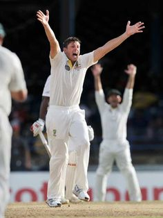 Australian bowler James Pattinson appeals for lbw against West Indies batsman Kieran Powell during the second day of the second-of-three Test matches between Australia and West Indies April 16, 2012 at Queen's Park Oval in Port of Spain, Trinidad. Australia won the appeal.