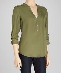 Take a look at this Military One-Pocket Roll-Sleeve Top by Michael Brandon on #zulily today!