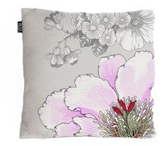 Grey throw pillow with pink flowrs. Imported from Finland. Du Monde Furnishings.