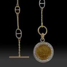 Yellow & White Gold Diamond & Canadian Maple Leaf Coin Necklace