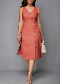 V Neck Printed High Waist A Line Dress   Rosewe.com - USD $34.43