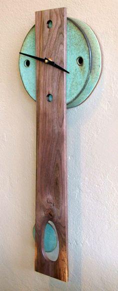 Stoneware and Black Walnut Wall Pendulum Clock by Rob Mangum in Weaverville, North Carolina