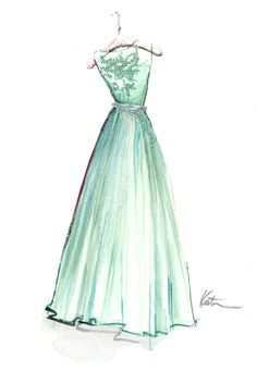 Mint Catherine Dean Godiva Gown Illustration by PAPERFASHION.....I want to pin this a hundred times....just beautiful