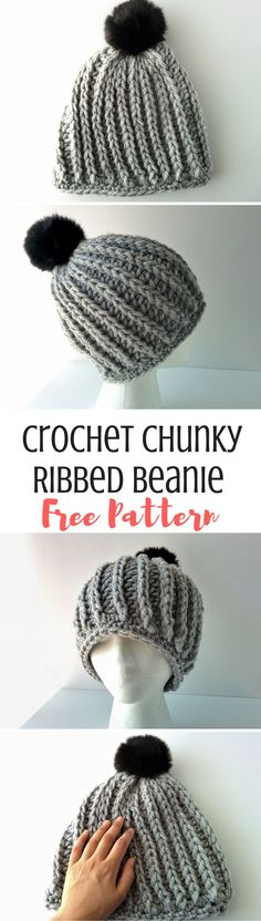 Madeline: Chunky Ribbed Beanie Free Pattern 2019 Crochet this chunky ribbed beanie for yourself or someone you love! It's perfect for crochet beginners The post Madeline: Chunky Ribbed Beanie Free Pattern 2019 appeared first on Crochet ideas. Crochet Flower Hat, Crochet Beanie Pattern, Crochet Flower Patterns, Hat Patterns, Crochet Ideas, Knitting Patterns, Beginner Crochet Tutorial, Beginner Crochet Projects, Crochet For Beginners