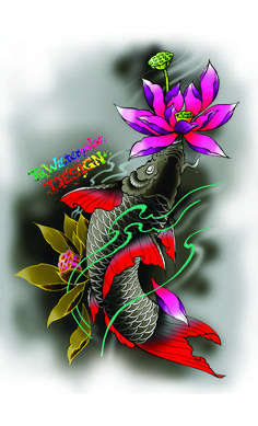 Fish koi tattoo design - tú watercolor ca koi японские татуи Flower Tattoo Sleeve Men, Flower Tattoo Back, Flower Tattoo Shoulder, Koi Fish Drawing, Koi Fish Tattoo, Fish Drawings, Japanese Tattoo Art, Japanese Sleeve Tattoos, Koi Tattoo Design