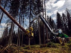 Procesadora forestal #JohnDeere 1270G con cabina giratoria y nivelable y motor FT4, trabajando en la corta y procesadora de madera