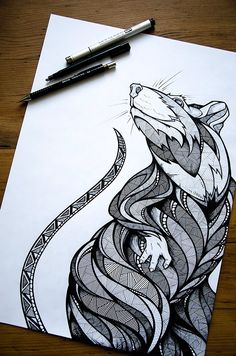Coloring Pages For Adults Here https://www.etsy.com/shop/SelahWorksArt?ref=hdr_shop_menu Rat by Andreas Preis // www.designerpreis.com