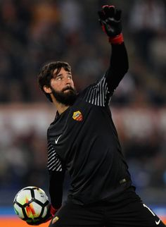 AS Roma goalkeeper Alisson in action during the Serie A match between AS Roma and SSC Napoli at Stadio Olimpico on October 14, 2017 in Rome, Italy.