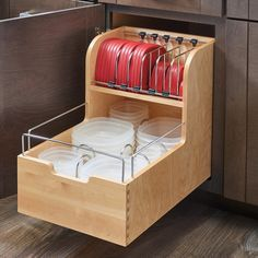 Wood Food Storage Container Organizer for Base Cabinets by Rev-A-Shelf Container Organization, Kitchen Organization, Kitchen Storage, Food Storage, Tupperware Storage, Rev A Shelf, Home Projects, Home Kitchens, Home Remodeling