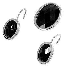 Oval Earrings Black Simulated CZ .925 Sterling Silver Pendant Set * Be sure to check out this awesome product.