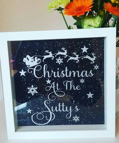 Personalised Christmas glitter box frame. by evieandellie15