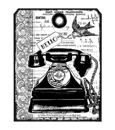 """Crafty Individuals Unmounted Rubber Stamp 4.75""""X7"""" Pkg-Chunky Vintage Telephone Tag - I think this is cool but you need some mounting foam, a bigger ink pad & an acrylic block (not sure what that is!) to use it.  So it might be too advanced for me."""