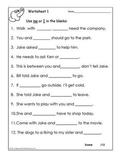 I or Me Personal Pronouns Worksheet Part 1 Beginner | Worksheets ...