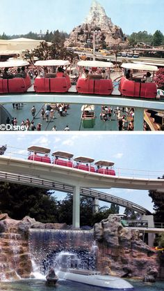 Remember the People Mover? The whole family could enjoy an overview of Tomorrowland while resting their feet. The tracks are still there. I AM OBSESSED WITH THIS RIDE. Disneyland Tomorrowland, Disneyland World, Vintage Disneyland, Disneyland California, Disneyland Resort, Walt Disney World, Disneyland History, Disneyland Rides, Disneyland Photos