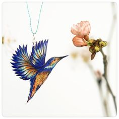 Bird necklace chain kingfisher - KINGFISHER in flight - No. 30 - drawing - turquoise blue, orange - ooak - one of a kind
