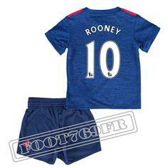 Personnalise Maillot De Rooney 10 Manchester United Enfant Bleu 2016 17 Exterieur : Premier League
