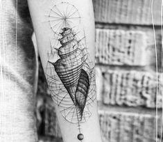 Seashell tattoo by Balazs Bercsenyi