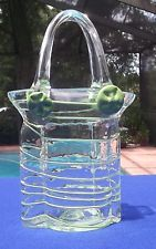 Hand Blown Clear Glass With Green Stripes Purse