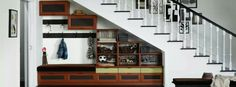 Asheville-Entryway-by-California-Closets-of-Michigan Under Stairs Storage: How to Maximize the Space from Your House Staircase Storage, Entryway Storage, Stair Storage, Entryway Ideas, Organized Entryway, Entryway Closet, Hanging Storage, Small Space Design, Small Space Storage