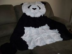 Cute Black and White Fleece Panda Blanket by YoderbyDesign on Etsy, $49.99