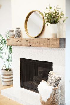 From candles and shelves to mirrors and succulents, refresh your fireplace mantel with corbels with these gorgeously unexpected decorating ideas. #FireplaceSurround #FireplaceMantel #RusticFireplace #ModernFireplace #fireplacemantelpics