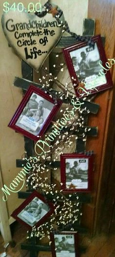 Primitive Picture Ladder Custom saying by MammiesPrimsnupcycle Diy Projects To Try, Crafts To Make, Craft Projects, Craft Ideas, Kids Crafts, Prim Decor, Rustic Decor, Country Crafts, Country Decor