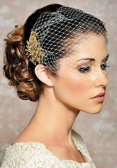 bridal styles for short hair with birdcage veil - Google Search