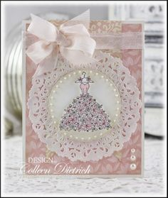 Bridal shower / wedding card using Stampin' Up! Blooming With Happiness dress of flowers.