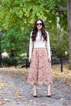 Anthropologie Primrose Midi Skirt, Moulinette Soeurs Lace Skirt, Anthropologie Lace Midi Skirt, Christian Louboutin Pigalle 120 mm Black Patent Leather, J.Crew Factory Classic  Cable Sweater in  Heather Natural