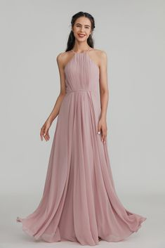 Halter Long Chiffon Bridesmaid Dress with Open Back Pink Bridesmaid Dresses, Brides And Bridesmaids, Wedding Dresses, Dressing Your Body Type, Pear Shaped Women, Strapless Dress Formal, Formal Dresses, Nice Legs, Cut And Style