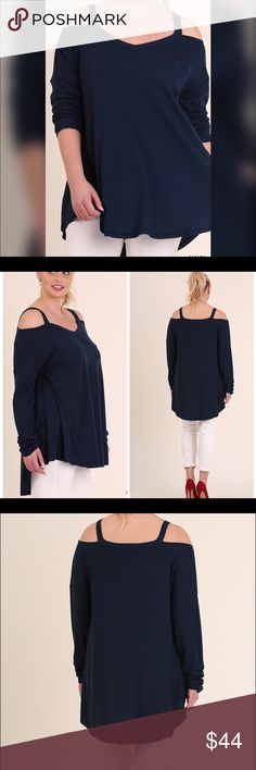 PLUS--ONLY 1 XL LEFT--Open Shoulder Tunic  Flowy Open Shoulder High Low Tunic top. Wine or Navy. Tops