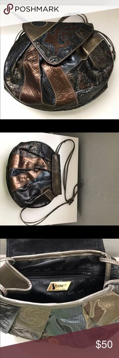 """Vintage Sharif handbag Gray, bronze and gold patchwork leather shoulder bag. Magnetic closure. Strap is about 28"""" from bag to shoulder. Bag is 10.5"""" across, 9"""" from top to bottom and opens about 6"""" wide at the top. sharif Bags Shoulder Bags"""