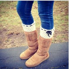SALE Crochet Boot Cuffs, Boot Toppers for Ugg Boots, Cream, Black Chunky, Christmas Gifts, Gifts for Her, Teens, Girls, Handmade, LEGJE505C2. $28.00, via Etsy.