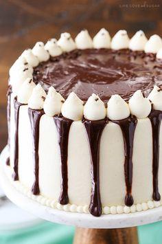 Baileys Chocolate Cake - layers of chocolate cake flavored with Baileys Irish Cream and Baileys frosting! So good!