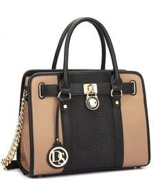 d4bcd69bfc15 Medium Satchel Handbag Designer Large Purse Two Tone Padlock w  Shoulder  Strap - 7103-