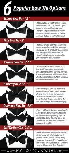 Six popular bow tie options. | Mens Ties - Ties for Men  #howmendress #menswear #mensfashion