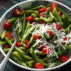 Roasted Italian Green Beans & Tomatoes Recipe -When you roast green beans and tomatoes, their flavors really shine through. The vibrant colors light up our holiday table. —Brittany Allyn, Nashville, TN