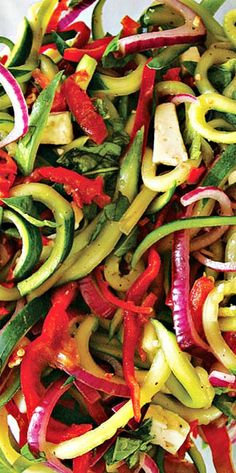 Cucumber-Pepper Slaw - only minutes to prepare if you have a spiralizer