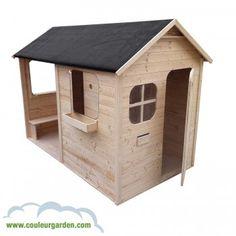 Maison enfant patio avec plancher et grande terrasse abritée et ultra équipée - version brute - Couleur Garden