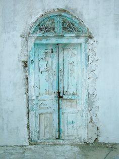 weathered aqua turquoise old doors Cool Doors, The Doors, Unique Doors, Windows And Doors, Knobs And Knockers, Door Knobs, When One Door Closes, Cottage In The Woods, Closed Doors