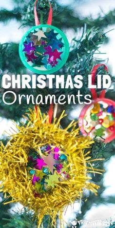 """CHRISTMAS LID ORNAMENTS are a shimmery, shiny, frugal Christmas craft for kids. Let the kids """"bling"""" to their heart's content with these homemade decorations."""