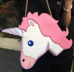 2017 Fun fashion personality fashion trends laser unicorn modeling mini chain shoulder bag ladies handbag messenger bags purse