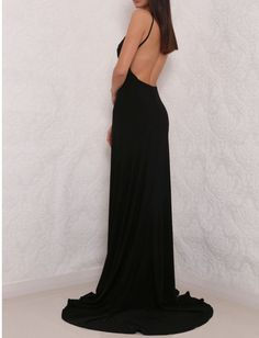 Sexy High Slit Prom Dress, Black Prom Dress, Open Back Prom Dresses, Elegant Evening Dress, Black Ev on Luulla