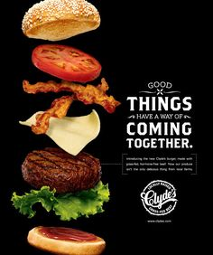 Clyde's Burgers on Behance. A fun way to evolve the deconstructed burger idea.